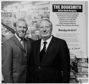 Bill Smith founder of Bibliophile and Booksmith in his shop in Charing Cross Road with then PM Ted Heath (1978) / {Location}: Booksmith Charing Cross Road\\n\\n20/04/2011 16:07
